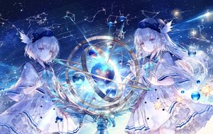 Rating: Safe Score: 69 Tags: 2girls bicolored_eyes braids dress hat long_hair night onineko original short_hair sky stars twins white_hair User: BattlequeenYume