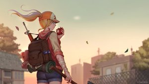 Rating: Safe Score: 39 Tags: apple bandage blonde_hair blue_eyes dark_duck food fruit gun hat hoodie long_hair ponytail shorts sunset watermark weapon zhelter User: SciFi