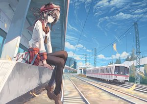 Rating: Safe Score: 39 Tags: blue_eyes brown_hair building clouds hat huanxiang_huifeng original ponytail seifuku skirt sky thighhighs train User: BattlequeenYume