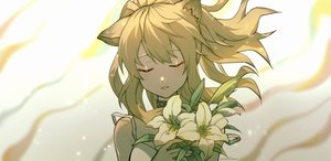 Rating: Safe Score: 22 Tags: animal_ears arknights blonde_hair catgirl choker flowers jinker384057268 polychromatic ponytail siege_(arknights) signed User: RyuZU