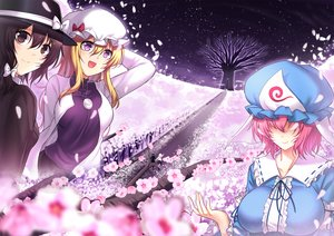 Rating: Safe Score: 15 Tags: blonde_hair bow breasts brown_eyes brown_hair cherry_blossoms flowers hat koissa long_hair maribel_han necklace petals pink_hair purple_eyes saigyouji_yuyuko short_hair touhou tree usami_renko User: RyuZU
