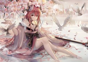 Rating: Safe Score: 82 Tags: animal bird breasts cleavage date_a_live flowers horns itsuka_kotori japanese_clothes long_hair open_shirt red_eyes red_hair water weitu wet User: BattlequeenYume