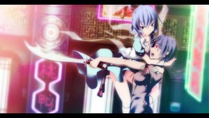 Rating: Safe Score: 75 Tags: 2girls dress kaku_seiga miyako_yoshika sakurame sword touhou weapon User: opai