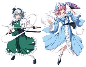 Rating: Safe Score: 51 Tags: 2girls aliasing blush bow dress fan gray_hair green_eyes hat headband katana konpaku_youmu myon nori_tamago ofuda pink_eyes pink_hair saigyouji_yuyuko short_hair socks sword touhou weapon white User: RyuZU