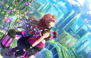 Rating: Safe Score: 53 Tags: brown_hair building city clouds flowers gloves green_eyes ichinose_shiki idolmaster idolmaster_cinderella_girls_starlight_stage landscape long_hair mask ruins scenic sky tagme_(artist) water waterfall User: BattlequeenYume