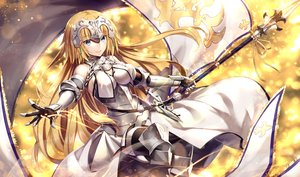 Rating: Safe Score: 71 Tags: aliasing aqua_eyes armor blonde_hair chain dress elbow_gloves fate/grand_order fate_(series) gabiran gloves headdress jeanne_d'arc_(fate) long_hair spear thighhighs weapon User: RyuZU