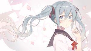Rating: Safe Score: 45 Tags: blue_eyes blue_hair hatsune_miku long_hair nagitoki petals seifuku twintails vocaloid User: Flandre93