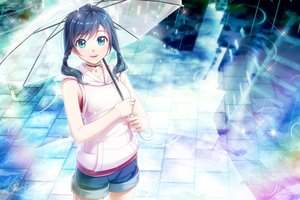 Rating: Safe Score: 42 Tags: amano_hina aqua_eyes blue_hair building choker hoodie rain reflection shorts signed tenki_no_ko twintails umbrella water you_haruka User: BattlequeenYume