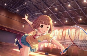 Rating: Safe Score: 32 Tags: annin_doufu brown_eyes brown_hair idolmaster idolmaster_cinderella_girls idolmaster_cinderella_girls_starlight_stage kitami_yuzu kneehighs seifuku short_hair sport wink User: luckyluna