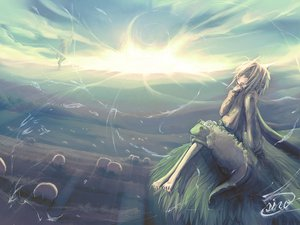 Rating: Safe Score: 53 Tags: animal barefoot clouds grass jpeg_artifacts landscape original scenic sheep short_hair signed siro_(fragmentary_world) sky sunset User: Oyashiro-sama
