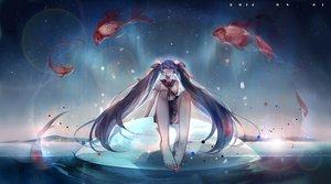 Rating: Safe Score: 53 Tags: animal barefoot fish hatsune_miku holmesa seifuku stars twintails vocaloid water User: FormX