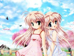 Rating: Safe Score: 25 Tags: 2girls blue_eyes brown_hair butterfly cherry_blossoms clouds dress flowers green_eyes hajimete_no_orusuban jpeg_artifacts loli long_hair mizuki_saori mizuki_shiori nanami_to_konomi_no_oshiete_abc see_through studio_ring summer_dress twins vector User: Oyashiro-sama