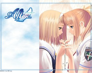 Rating: Safe Score: 25 Tags: 2girls after after_sweet_kiss blonde_hair blue_eyes brown_eyes cross headband necklace orange_hair ponytail school_uniform shiomiya_kanami shoujo_ai taka_tony takawashi_nagisa User: Oyashiro-sama