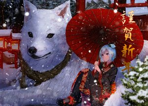 Rating: Safe Score: 65 Tags: animal aqua_eyes aqua_hair demon dog flowers hat horns japanese_clothes kimono konkito original rope short_hair snow torii umbrella winter User: RyuZU