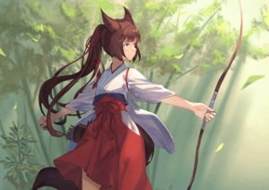 Rating: Safe Score: 71 Tags: animal_ears bow bow_(weapon) brown_hair forest foxgirl japanese_clothes long_hair miko original peroncho ponytail tail tree weapon yellow_eyes User: otaku_emmy