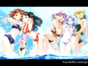 Rating: Safe Score: 44 Tags: artoria_pendragon_(all) bikini fate_(series) fate/stay_night matou_sakura medea_(fate) pointed_ears rider saber summer swimsuit tagme tohsaka_rin User: Oyashiro-sama