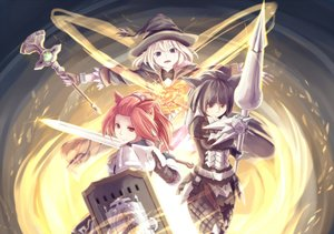 Rating: Safe Score: 102 Tags: animal_ears armor black_eyes black_hair blonde_hair dararito final_fantasy final_fantasy_xiv hat miqo'te red_eyes red_hair sword weapon witch_hat User: Flandre93