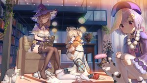 Rating: Safe Score: 134 Tags: animal barbara_(genshin_impact) cat genshin_impact haneru hat lisa_(genshin_impact) long_hair qiqi_(genshin_impact) short_hair thighhighs witch witch_hat User: Fepple