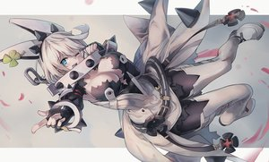 Rating: Safe Score: 62 Tags: aqua_eyes boots breasts chain cleavage collar dress elbow_gloves elphelt_valentine gloves guilty_gear huanxiang_huifeng pantyhose short_hair torn_clothes white_hair wink wristwear User: otaku_emmy