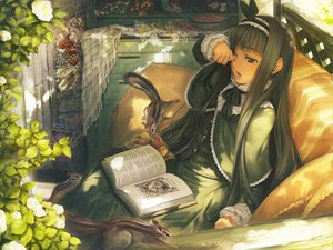 Rating: Safe Score: 119 Tags: animal black_hair book dress flowers food fruit goth-loli green_eyes headdress lolita_fashion long_hair original ribbons simosi wink User: Tensa