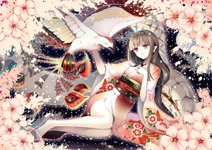 Rating: Safe Score: 78 Tags: animal barefoot bird cherry_blossoms feathers gray_hair japanese_clothes kimono long_hair okotoburi original pink_eyes signed User: mikuna
