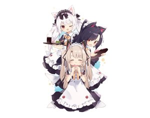 Rating: Safe Score: 60 Tags: animal_ears anthropomorphism apron azur_lane black_hair bow brown_hair catgirl cat_smile doggirl drink fang food fujii_shino headdress loli long_hair maid ponytail red_eyes ribbons shigure_(azur_lane) sketch twintails waitress white white_hair wink yukikaze_(azur_lane) yuudachi_(azur_lane) User: otaku_emmy