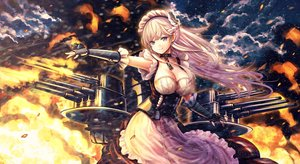 Rating: Safe Score: 97 Tags: anthropomorphism azur_lane belfast_(azur_lane) blue_eyes braids breasts catbell chain cleavage clouds collar dress fire long_hair maid sky weapon white_hair User: BattlequeenYume