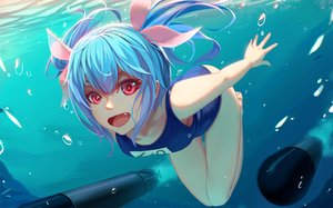 Rating: Safe Score: 145 Tags: anthropomorphism aqua_hair bubbles fang i-19_(kancolle) kantai_collection long_hair nian pink_eyes ribbons school_swimsuit swimsuit underwater water weapon User: Flandre93