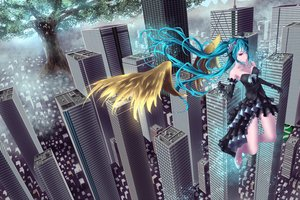 Rating: Safe Score: 19 Tags: hatsune_miku long_hair twintails vocaloid wings yusuke User: luckyluna