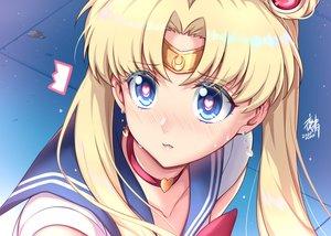 Rating: Safe Score: 36 Tags: aqua_eyes blonde_hair blush choker close headband long_hair parody sailor_moon sailor_moon_(character) school_uniform signed tsukino_usagi twintails waifu2x yoru_sei User: otaku_emmy