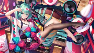 Rating: Safe Score: 120 Tags: aqua_eyes aqua_hair blush breasts cleavage drums fan hatsune_miku instrument japanese_clothes lolita_fashion magical_mirai_(vocaloid) ofuda pupupu shrine thighhighs twintails vocaloid User: Fepple