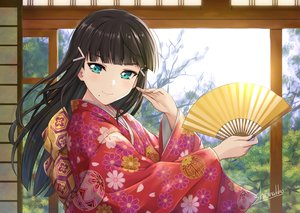 Rating: Safe Score: 93 Tags: black_hair close fan green_eyes japanese_clothes kimono kurosawa_dia love_live!_school_idol_project love_live!_sunshine!! shamakho signed User: RyuZU