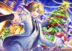 Rating: Safe Score: 14 Tags: aqua_eyes blush building christmas city flowers green_hair hat male original renta_(deja-vu) rose santa_hat snow suit tie tree wink User: RyuZU