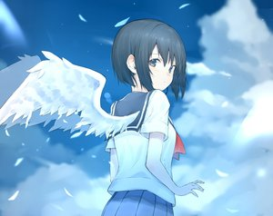 Rating: Safe Score: 35 Tags: black_hair blue_eyes clouds cropped original ryou_(ponpgo) school_uniform short_hair skirt sky wings User: otaku_emmy