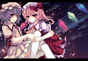 Rating: Safe Score: 26 Tags: 2girls blonde_hair dress flandre_scarlet hat night purple_hair red_eyes remilia_scarlet ribbons short_hair sky stars thighhighs touhou vampire wings User: Tensa