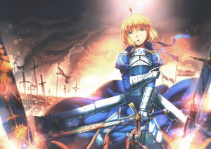 Rating: Safe Score: 123 Tags: aoki_(miharuu) artoria_pendragon_(all) blonde_hair blood fate_(series) fate/stay_night green_eyes saber sword weapon User: Flandre93