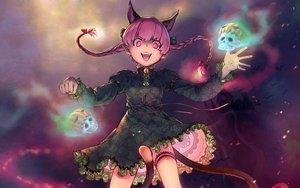 Rating: Safe Score: 117 Tags: animal_ears bell braids catgirl dress halloween kaenbyou_rin pink_eyes pink_hair pointed_ears pumpkin skull tail touhou uyama_hajime User: gnarf1975
