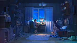 Rating: Safe Score: 447 Tags: 2girls arsenixc barefoot bed bloomers blue_hair book computer dark drink fan long_hair night original phone pink_hair scenic short_hair vvcephei watermark User: opai