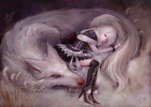 Rating: Safe Score: 266 Tags: animal animal_ears bow dress original red_eyes thighhighs white_hair wolf yukineko User: Flandre93