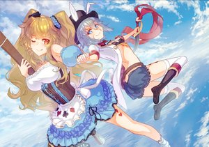 Rating: Safe Score: 22 Tags: animal_ears anne_bonny aqua_eyes bikini_top blonde_hair breasts clouds fate/grand_order fate_(series) garutaisa gray_hair hat knife long_hair mary_read red_eyes scarf short_hair shorts skirt sky twintails wink User: RyuZU