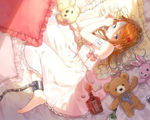 Rating: Safe Score: 60 Tags: aqua_eyes bandage barefoot bed blush bondage bunny dress drink hami_yura long_hair orange_hair original shackles teddy_bear User: BattlequeenYume