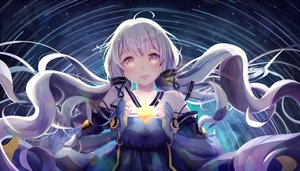 Rating: Safe Score: 67 Tags: danki long_hair night stars twintails vocaloid vocaloid_china white_hair xingchen yellow_eyes User: luckyluna