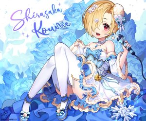 Rating: Safe Score: 32 Tags: blonde_hair blue blush cropped dress fang flowers idolmaster idolmaster_cinderella_girls lerome lolita_fashion microphone necklace red_eyes rose shirasaka_koume short_hair signed thighhighs watermark User: otaku_emmy
