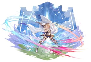 Rating: Safe Score: 43 Tags: blonde_hair cangkong clouds gloves green_eyes original petals pointed_ears short_hair shorts sky sword weapon User: Maboroshi
