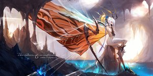 Rating: Safe Score: 62 Tags: anthropomorphism aqua_eyes bodysuit dako6995 elbow_gloves gloves godzilla_(series) headdress mothra original pointed_ears short_hair signed skintight water white_hair wings User: BattlequeenYume