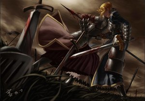 Rating: Safe Score: 183 Tags: 2girls armor artoria_pendragon_(all) blonde_hair blood dress fate/apocrypha fate_(series) fate/stay_night feitie mordred ribbons saber sky sword weapon User: opai