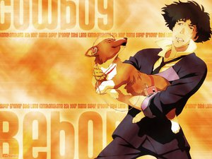 Rating: Safe Score: 11 Tags: all_male animal black_hair cowboy_bebop dog ein_(cowboy_bebop) headphones male red_eyes short_hair signed spike_spiegel suit User: Oyashiro-sama