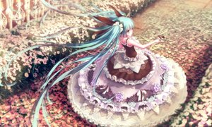 Rating: Safe Score: 187 Tags: aqua_eyes aqua_hair butterfly dress flowers hatsune_miku lolita_fashion long_hair m.xka petals signed twintails vocaloid User: Zolxys