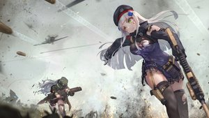 Rating: Safe Score: 96 Tags: 2girls aircraft anthropomorphism bra breasts cleavage g11_(girls_frontline) garter girls_frontline gloves green_eyes gun hat hk416_(girls_frontline) jay_xu long_hair military shorts skirt tattoo tears thighhighs torn_clothes underwear weapon white_hair zettai_ryouiki User: otaku_emmy