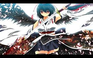 Rating: Safe Score: 64 Tags: aliasing autumn black_hair hat katana nekominase petals red_eyes ribbons shameimaru_aya skirt sword thighhighs touhou weapon wings User: C4R10Z123GT